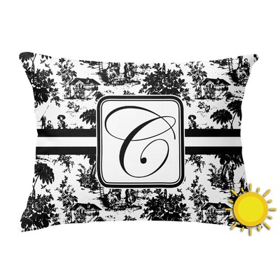 Toile Outdoor Throw Pillow (Rectangular) (Personalized)
