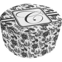 Toile Round Pouf Ottoman (Personalized)
