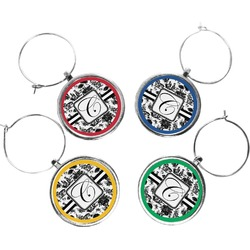 Toile Wine Charms (Set of 4) (Personalized)