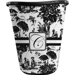 Toile Waste Basket - Double Sided (Black) (Personalized)
