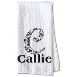 Toile Waffle Weave Kitchen Towel - Partial Print (Personalized)