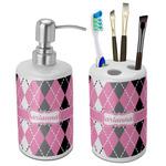 Argyle Bathroom Accessories Set (Ceramic) (Personalized)
