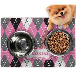 Argyle Dog Food Mat - Small w/ Name or Text
