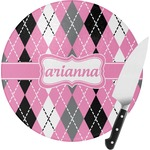 Argyle Round Glass Cutting Board (Personalized)