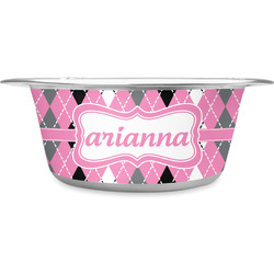 Argyle Stainless Steel Dog Bowl (Personalized)