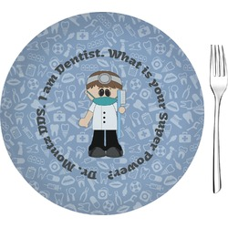 "Dentist 8"" Glass Appetizer / Dessert Plates - Single or Set (Personalized)"