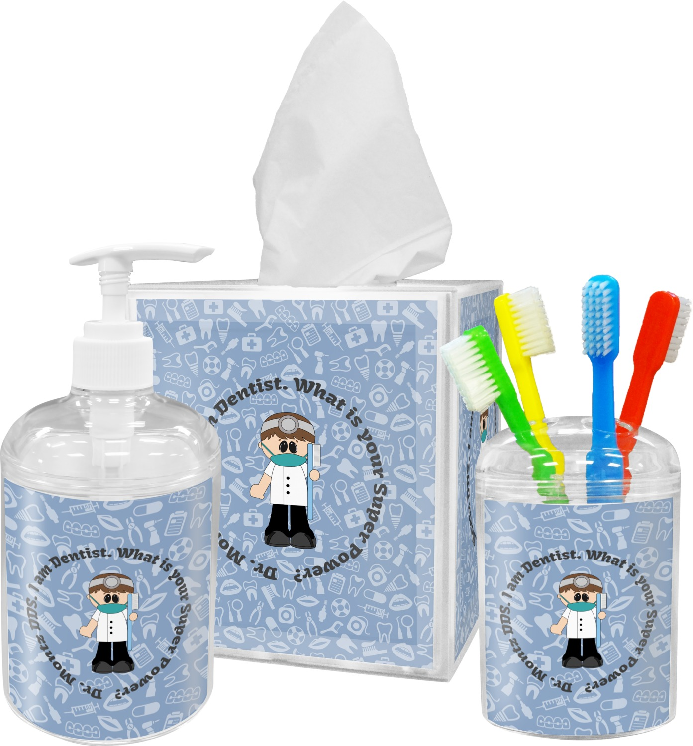 Dentist bathroom accessories set personalized - Monogrammed bathroom accessories ...