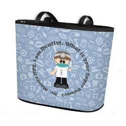 Dentist Bucket Tote w/ Genuine Leather Trim (Personalized)