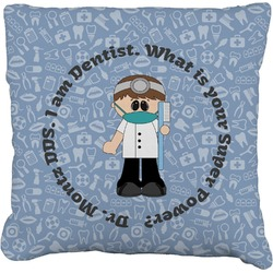 Dentist Faux-Linen Throw Pillow (Personalized)