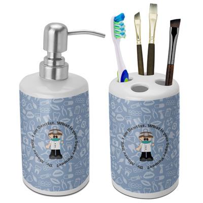Dentist Ceramic Bathroom Accessories Set (Personalized)