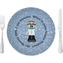 """Dentist 10"""" Glass Lunch / Dinner Plates - Single or Set (Personalized)"""