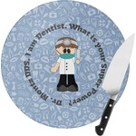 Dentist Round Glass Cutting Board (Personalized)