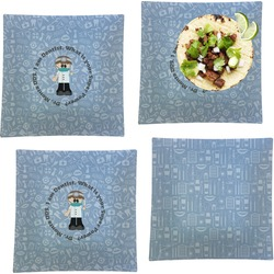"""Dentist Set of 4 Glass Square Lunch / Dinner Plate 9.5"""" (Personalized)"""