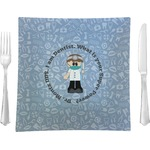 "Dentist Glass Square Lunch / Dinner Plate 9.5"" - Single or Set of 4 (Personalized)"