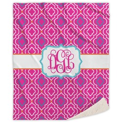 Colorful Trellis Sherpa Throw Blanket (Personalized)