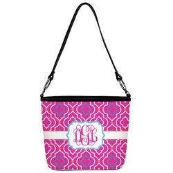 Colorful Trellis Bucket Bag w/ Genuine Leather Trim (Personalized)