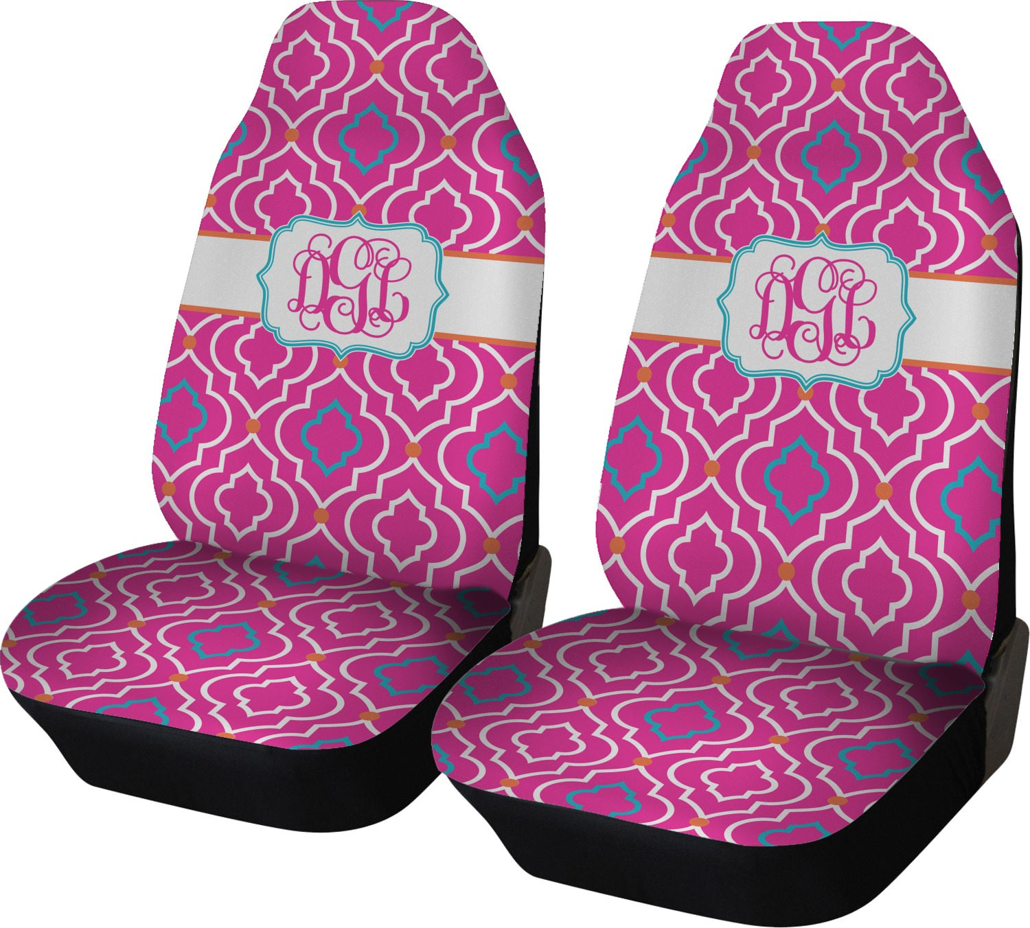 Colorful Trellis Car Seat Covers Set Of Two Personalized