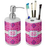 Colorful Trellis Ceramic Bathroom Accessories Set (Personalized)
