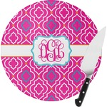 Colorful Trellis Round Glass Cutting Board (Personalized)