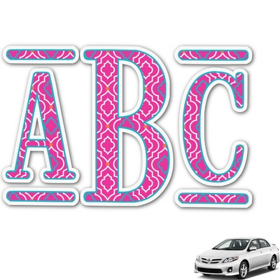 Colorful Trellis Monogram Car Decal (Personalized)