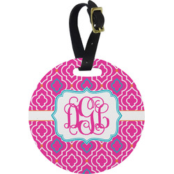 Colorful Trellis Round Luggage Tag (Personalized)