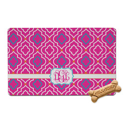 Colorful Trellis Pet Bowl Mat (Personalized)