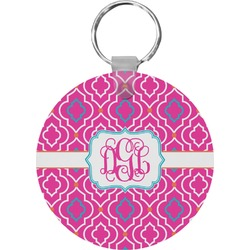 Colorful Trellis Round Keychain (Personalized)
