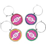 Colorful Trellis Wine Charms (Set of 4) (Personalized)