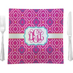 """Colorful Trellis 9.5"""" Glass Square Lunch / Dinner Plate- Single or Set of 4 (Personalized)"""