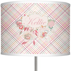 """Modern Plaid & Floral 13"""" Drum Lamp Shade (Personalized)"""