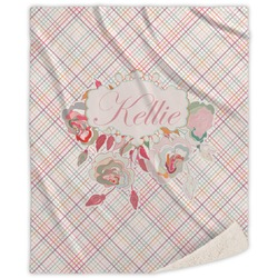 Modern Plaid & Floral Sherpa Throw Blanket (Personalized)