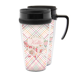 Modern Plaid & Floral Acrylic Travel Mugs (Personalized)