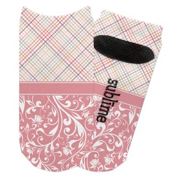 Modern Plaid & Floral Adult Ankle Socks (Personalized)