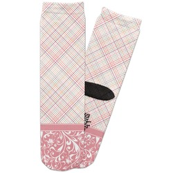 Modern Plaid & Floral Adult Crew Socks (Personalized)