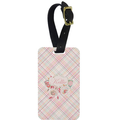 Modern Plaid & Floral Metal Luggage Tag w/ Name or Text