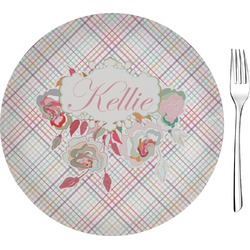 Modern Plaid & Floral Glass Appetizer / Dessert Plates 8