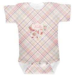 Modern Plaid & Floral Baby Bodysuit (Personalized)