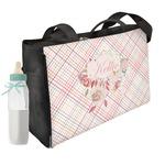 Modern Plaid & Floral Diaper Bag w/ Name or Text