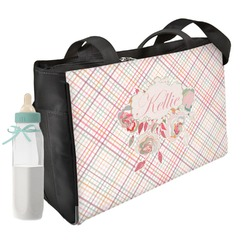 Modern Plaid & Floral Diaper Bag (Personalized)