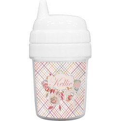Modern Plaid & Floral Baby Sippy Cup (Personalized)