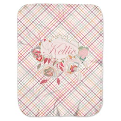 Modern Plaid & Floral Baby Swaddling Blanket (Personalized)