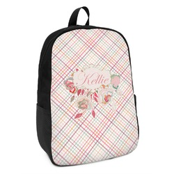 Modern Plaid & Floral Kids Backpack (Personalized)