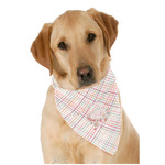 Modern Plaid & Floral Dog Bandana Scarf w/ Name or Text