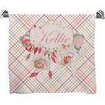 Modern Plaid & Floral Full Print Bath Towel (Personalized)