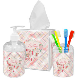 Modern Plaid & Floral Acrylic Bathroom Accessories Set w/ Name or Text