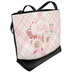 Modern Plaid & Floral Beach Tote Bag (Personalized)