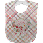 Modern Plaid & Floral Baby Bib (Personalized)