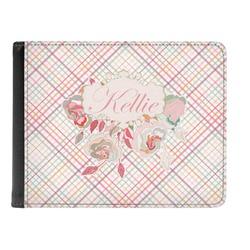 Modern Plaid & Floral Genuine Leather Men's Bi-fold Wallet (Personalized)