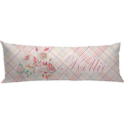 Modern Plaid & Floral Body Pillow Case (Personalized)