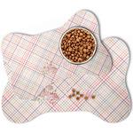 Modern Plaid & Floral Bone Shaped Dog Food Mat (Personalized)